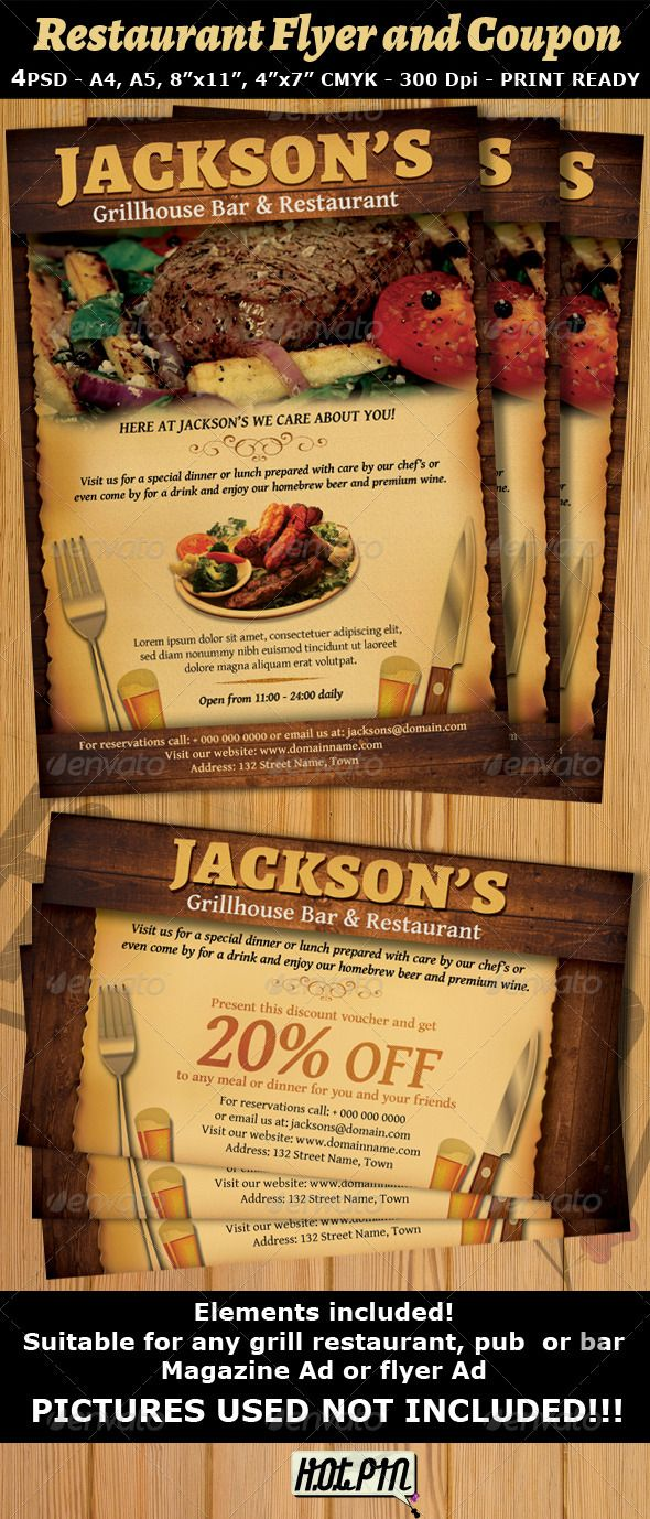 Restaurant Bar Magazine Ad Or Flyer Template And Coupon Is A Modern