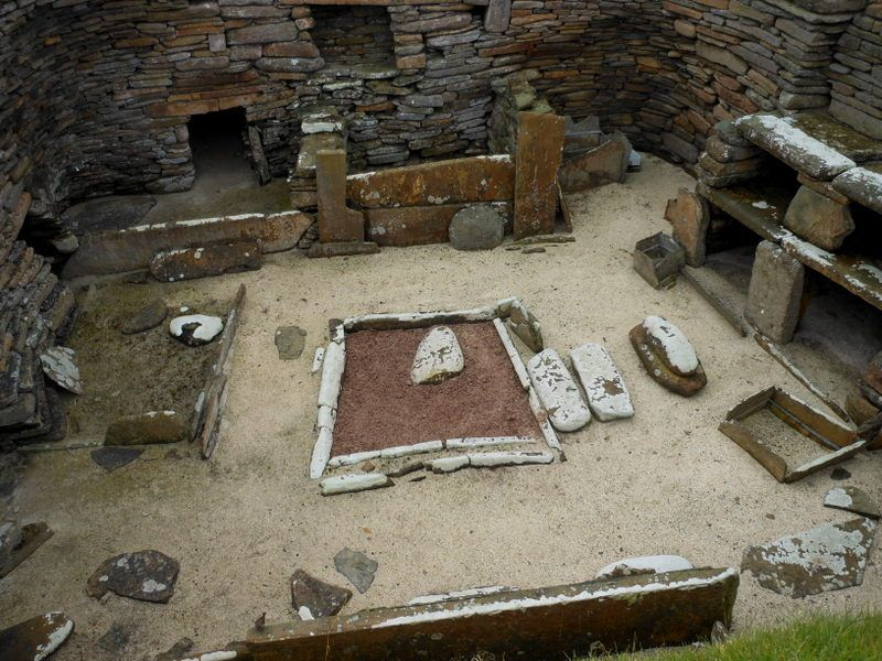 This Interior Belongs To The Stone Age Era Overall Structure Bed Fireplace
