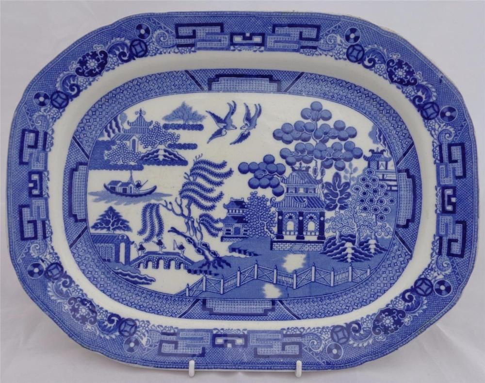 Blue and white pottery - Antique Copeland Pottery Blue And White Willow Pattern Meat Plate Ashet 1914