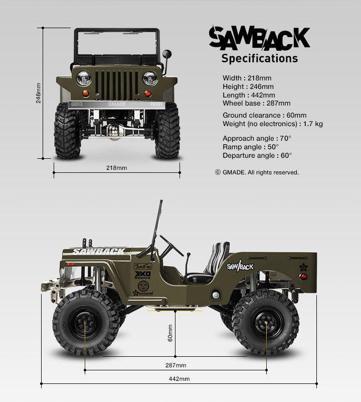 Gmade Gm52000 Sawback 4WD 1/10 Scale Rock Crawler Kit