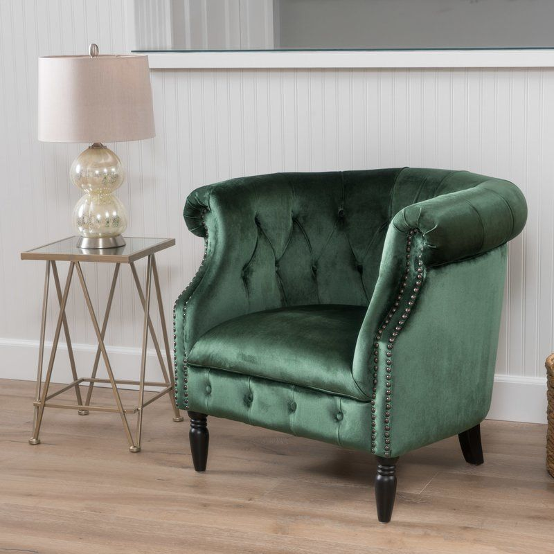 Lenita Chesterfield Green Velvet Accent Chair: Leather Dining Room Chairs
