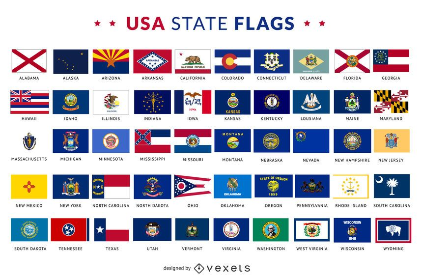 Huge Set With Every United States State Flag Each Flag Is Isolated And Includes The Name Of The State Under It Great For State Flags United Nations Flag Flag