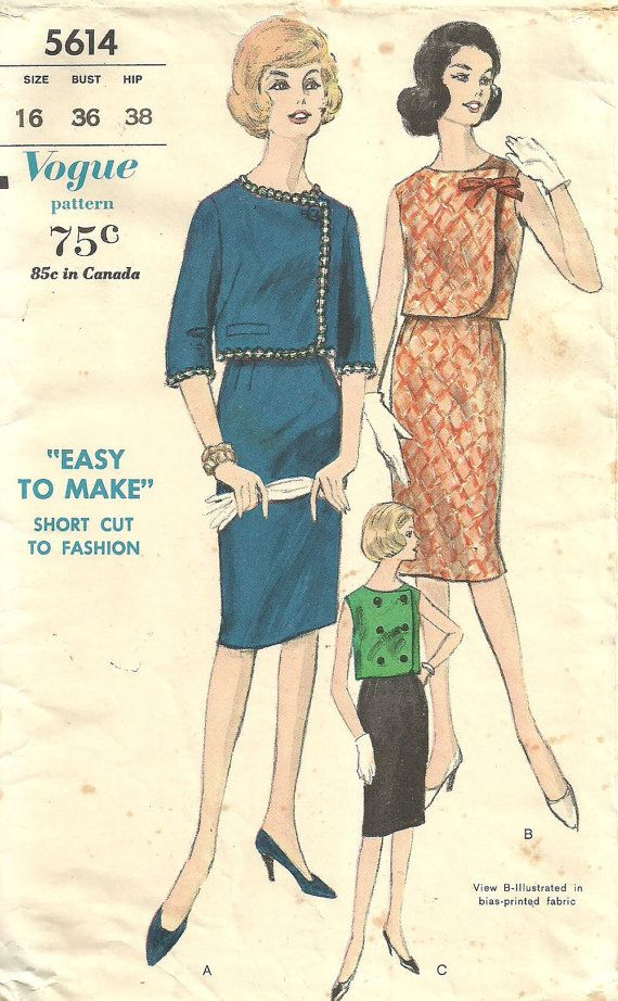 ca91d7f23b Vogue 5614 / Vintage 60s Sewing Pattern / Pencil Skirt And Jacket Suit /  Size 16 Bust 36