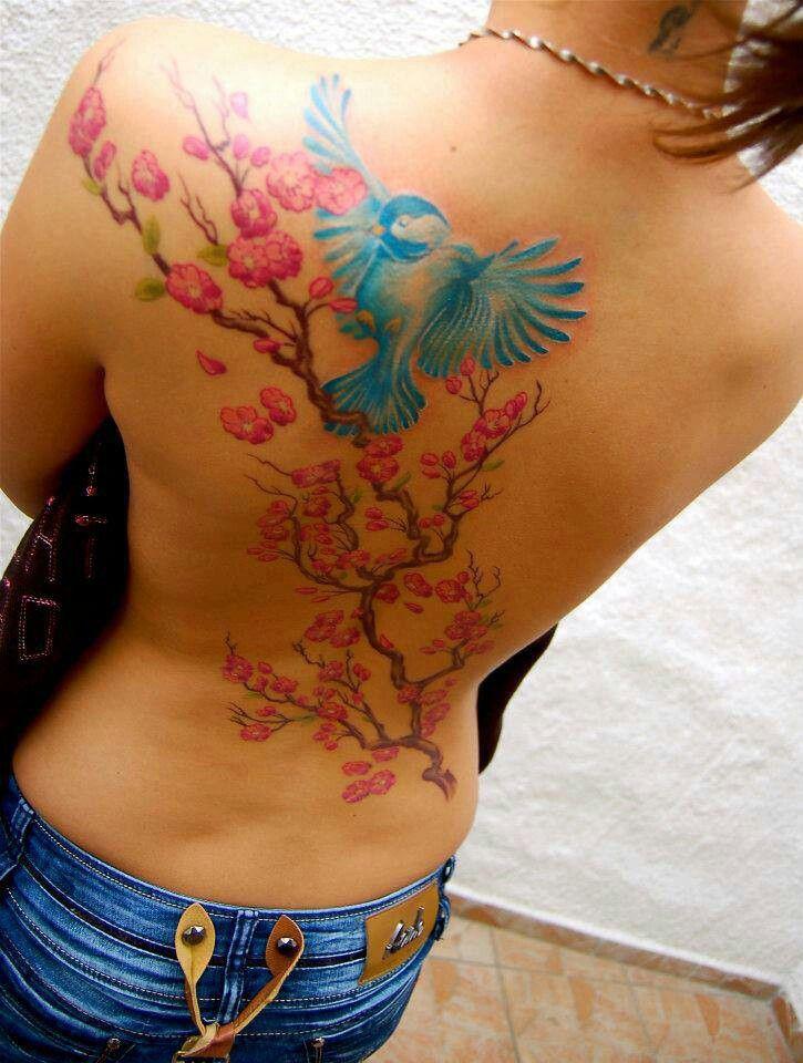 fd9b5b57f Blue bird and cherry blossom tattoo | Tattoos | Tattoos, Watercolor ...