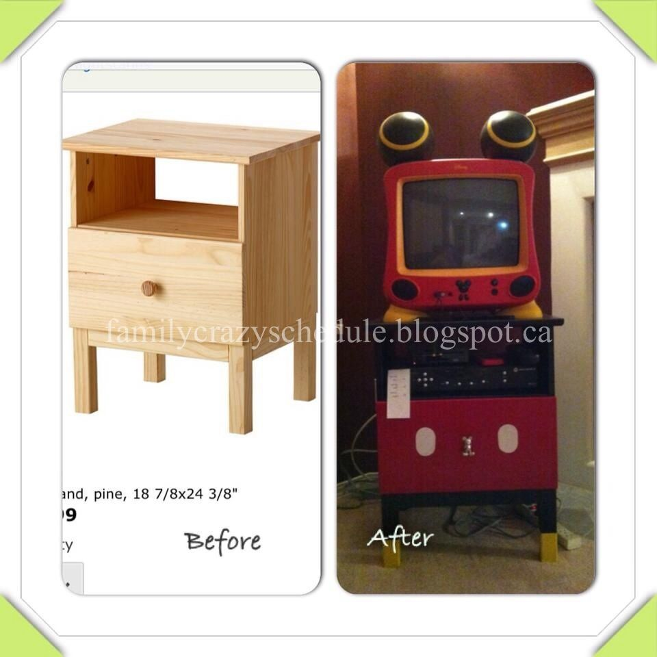 Superb Nightstand Transformed To Disney Mickey Mouse TV Stand DIY Good Looking