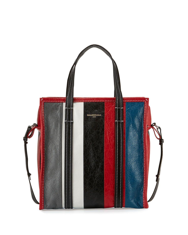 36f84cc69b25 Bazar Small Striped Leather Shopper Tote Bag