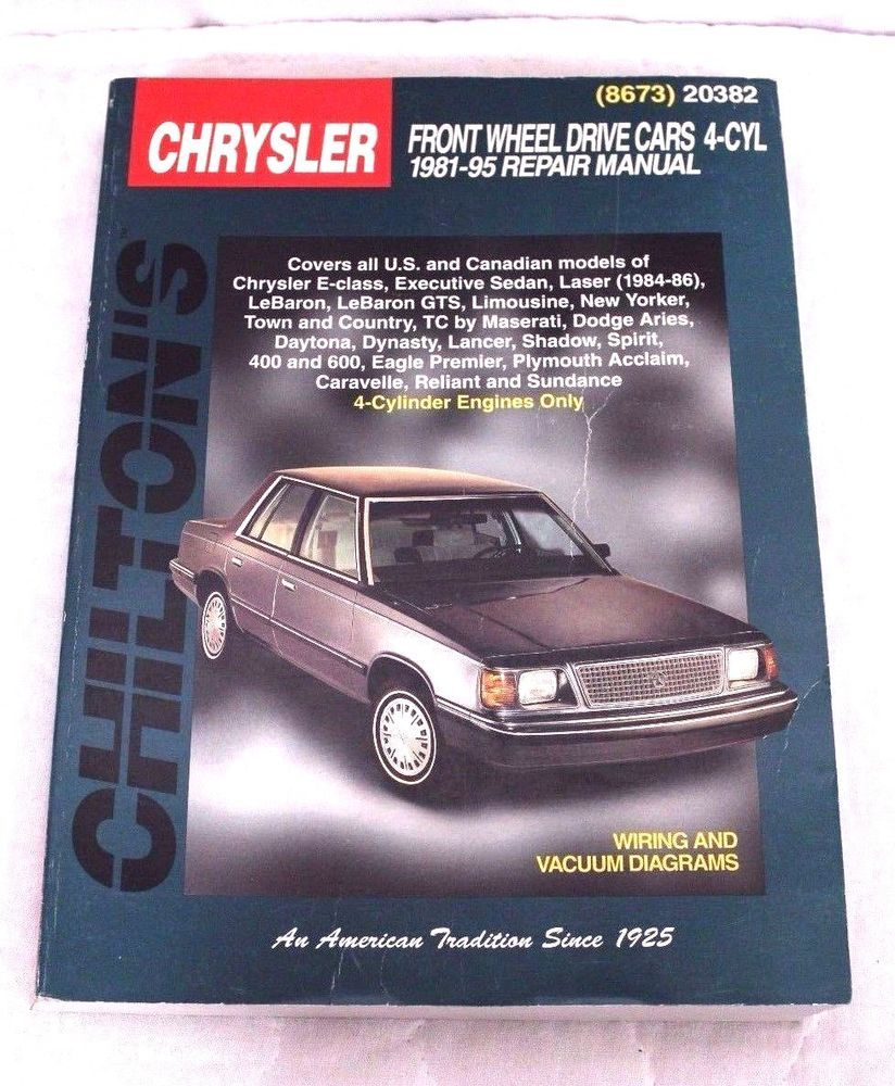 Chilton S 20382 Chrysler Front Wheel Drive Cars 4 Cyl 1981 95