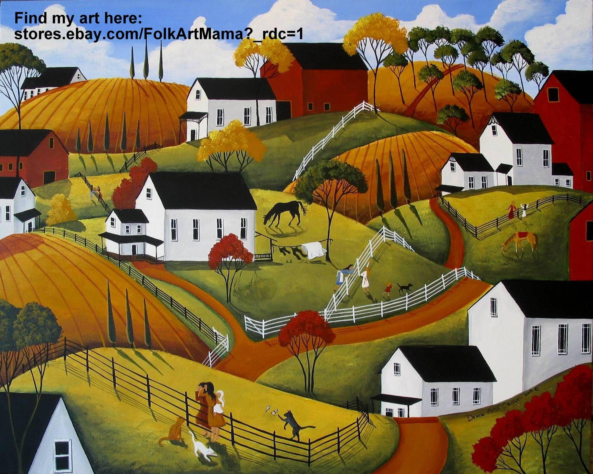 "Folk art original painting country cat barn women ladies gossip funny landscape ""Morning News"""