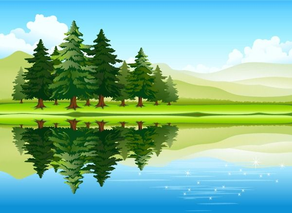 Beautiful Lake Forest Scenery Vector Material Photoshop World Forest Landscape Landscape Illustration
