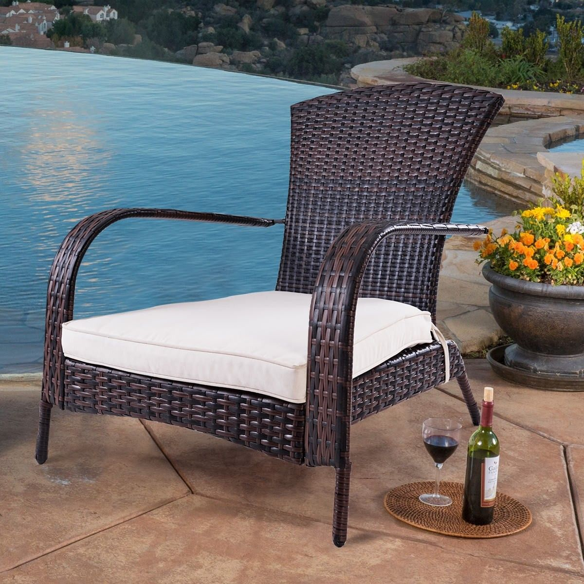 Outdoor Wicker Rattan Porch Deck Adirondack Chair W Cushion With Images Outdoor Chairs Porch Chairs Outdoor Wicker