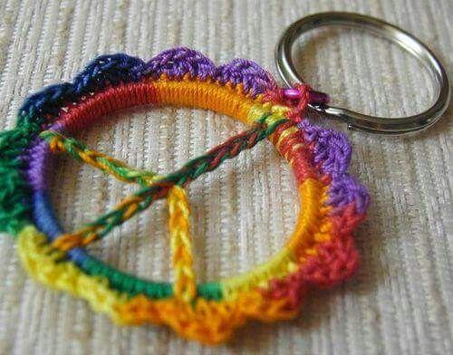 American Hippie Art Diy Craft Peace Sign Crochet Keychain