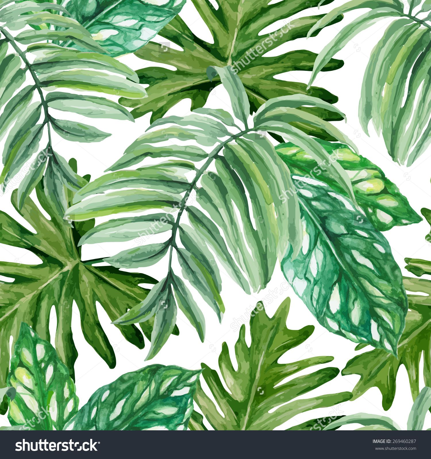 Watercolor Green Plants Monstera Nature Posters And Prints: Exotic Leaves, Rainforest. Seamless, Hand Painted