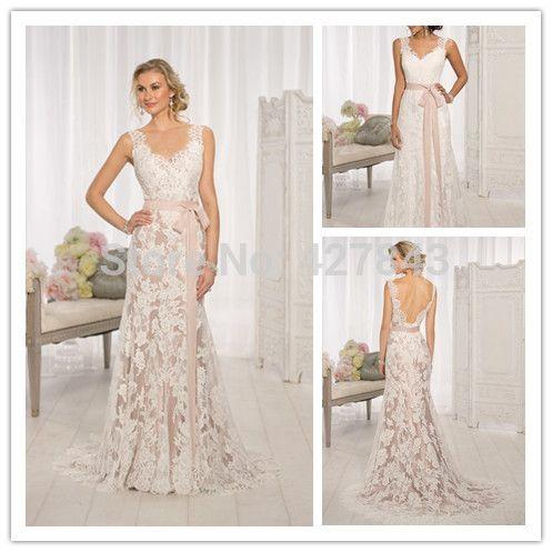 Vintage Champagne Lace Wedding Dress