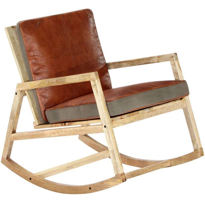 Fauteuil A Bascule Marron Cuir Veritable Et Manguier Massif 282906 Fauteuil A Bascule Chaise A Bascule Et Chaise Balancoire