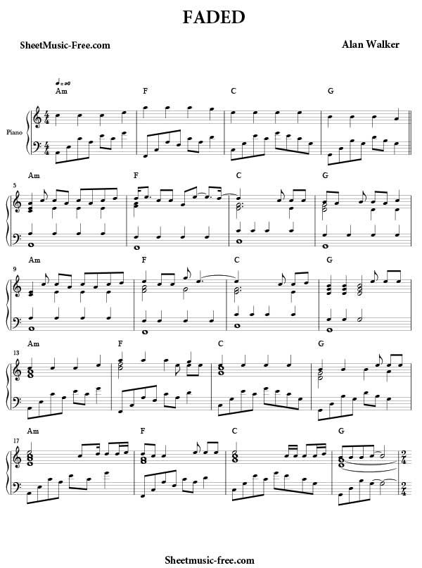 Berühmt Faded Sheet Music Alan Walker Download Faded Piano Sheet Music  CE85