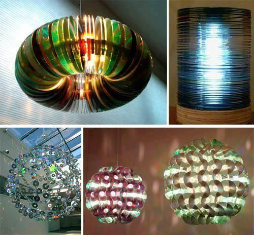 crafts with old cds | Recycle your old CD's into lighting. These are the coolest I've seen ...