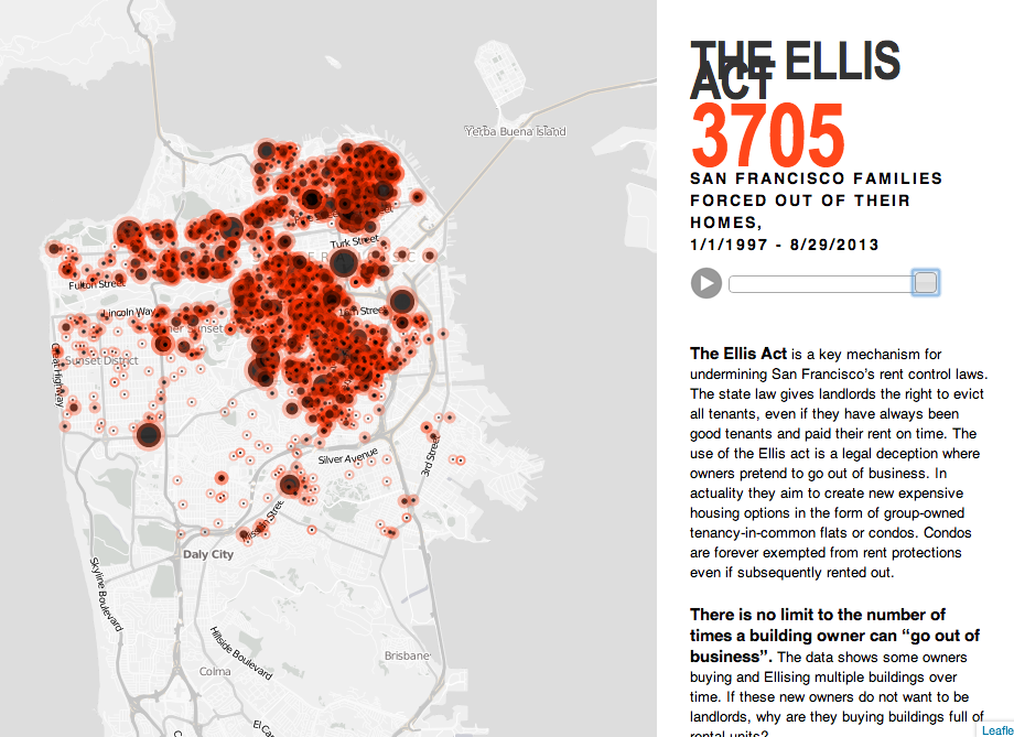 The Ellis Act Evictions map by the Anti-Eviction Mapping Project: http://www.antievictionmappingproject.net/ellis.html