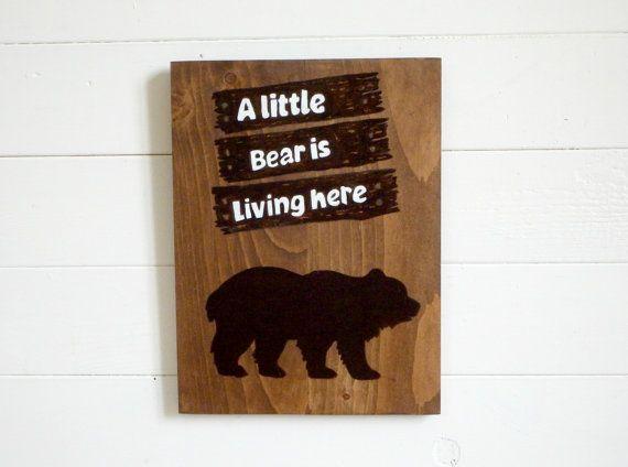 Wood sign bear rustic woodland nursery  bear wall by mariedesbois