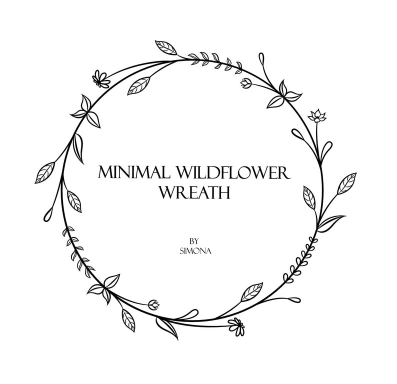 Minimal Wildflower Wreath hand drawn LOGO art/Clipart