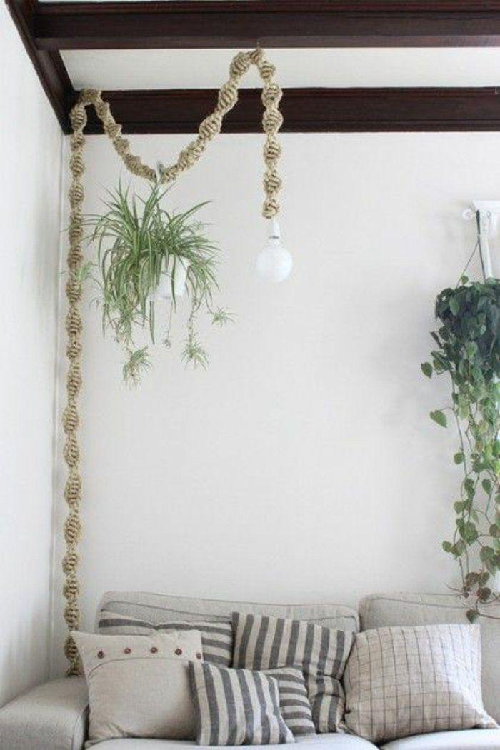 DIY Lampen mit Seil rustikale Wohnzimmer Einrichtung | Lampe ...
