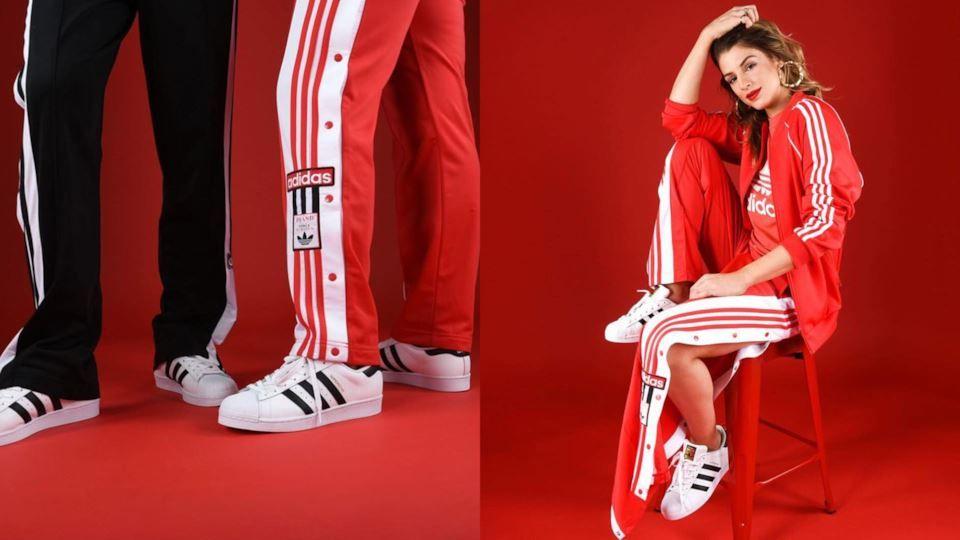 pantaloni adidas tuta rossi