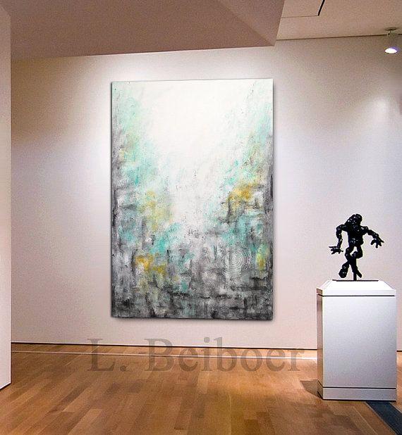Big Abstract Painting Original Large Art 30 X 60 Painting Etsy Painting Abstract Wall Art Yellow Painting