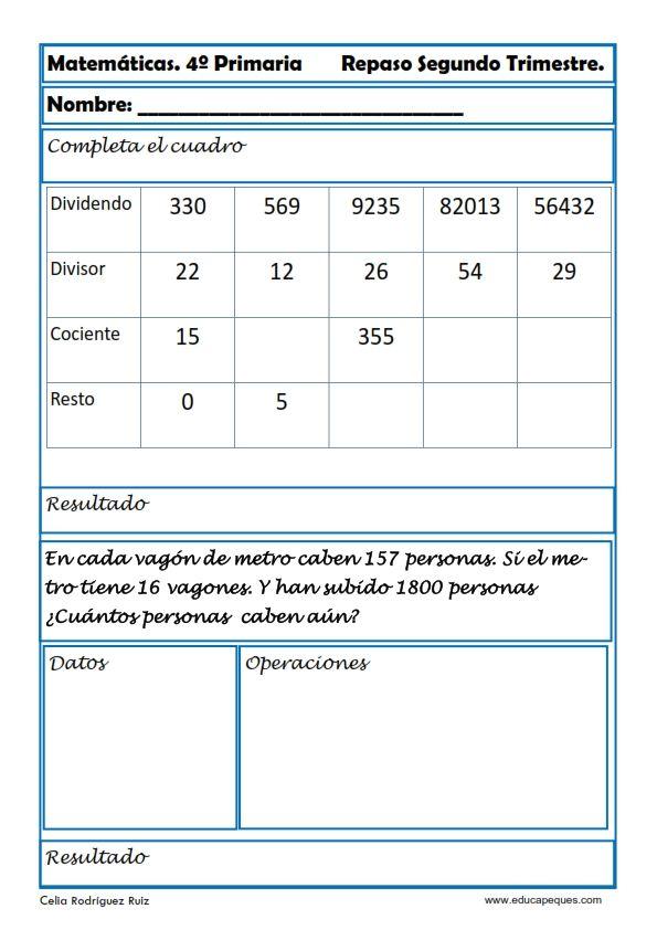 Matematicas Cuarto De Primaria | Recursos Educativos Ejercicios Matematicas Primaria Hoy Nos Toca