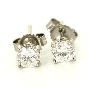 Estate 14 Karat White Gold Diamond Stud Earrings Fine Jewelry Pre Owned Used 489