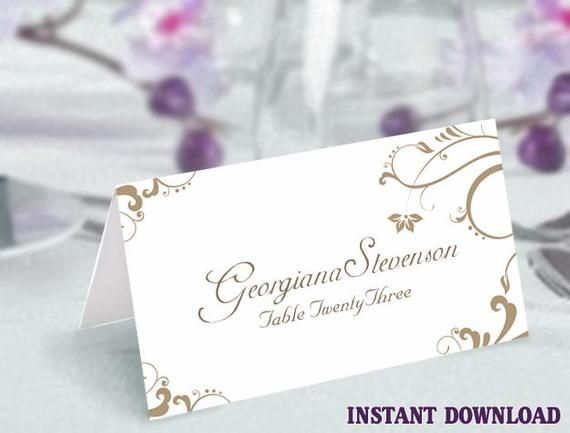 Printable Place Cards Wedding Place Card Template Elegant Gold Etsy Printable Place Cards Wedding Printable Place Cards Wedding Place Card Templates