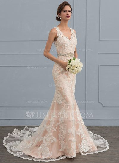 Trumpet/Mermaid V-neck Chapel Train Tulle Lace Wedding Dress With ...