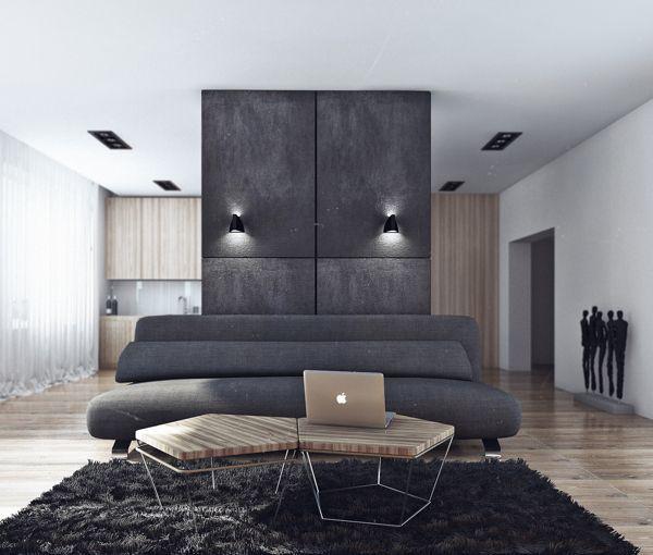 Minimalist Bachelor Pad Brings Sleek Style To The Single Gray