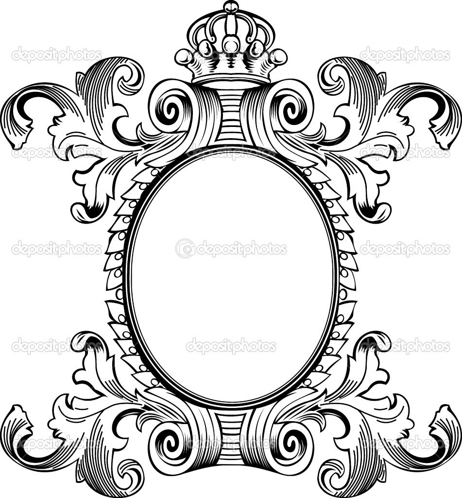Antique Scroll Design: Ornate Scroll Border Clip Art