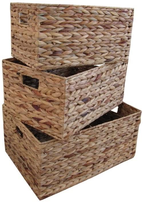 Large RATTAN Rectangle Plastic Storage Baskets Boxes Containers Stackable Unit
