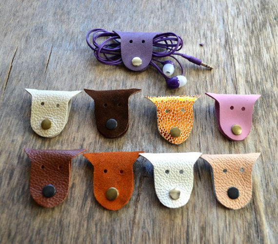 #Cord #holder #cat #cord #organizer #citten #earbud #holder leather от jewelryleather