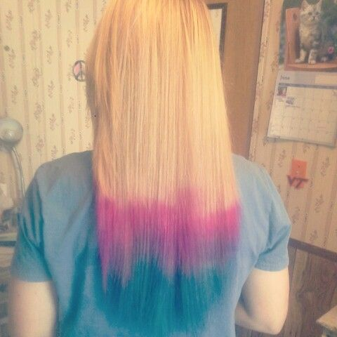 Pink Purple And Blue Tips With Blonde Hair Cool Hairstyles Hair Color New Hair