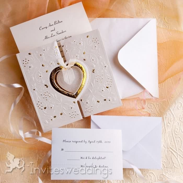 Romantic Gold And White Heart Folded Wedding Invitations IWZD01 - invitation template online