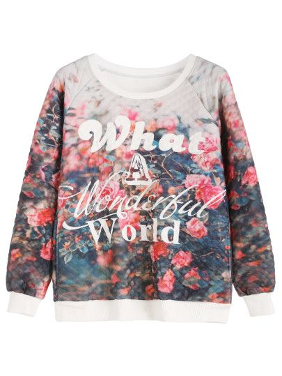 Letters And Floral Print Quilted Sweatshirt