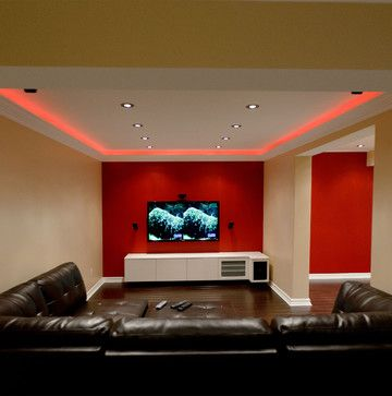 Led Lighting Basement Design Ideas Pictures Remodel And Decor Red Accent Wall Modern Basement Accent Walls In Living Room