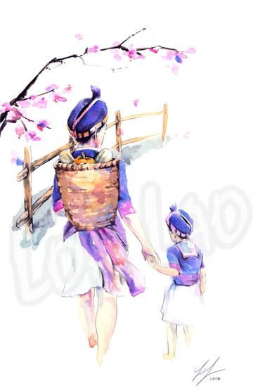 Hmong Art Painting Mother Daughter Cherry Blossom Watercolor Art Hmong Tattoo Painting