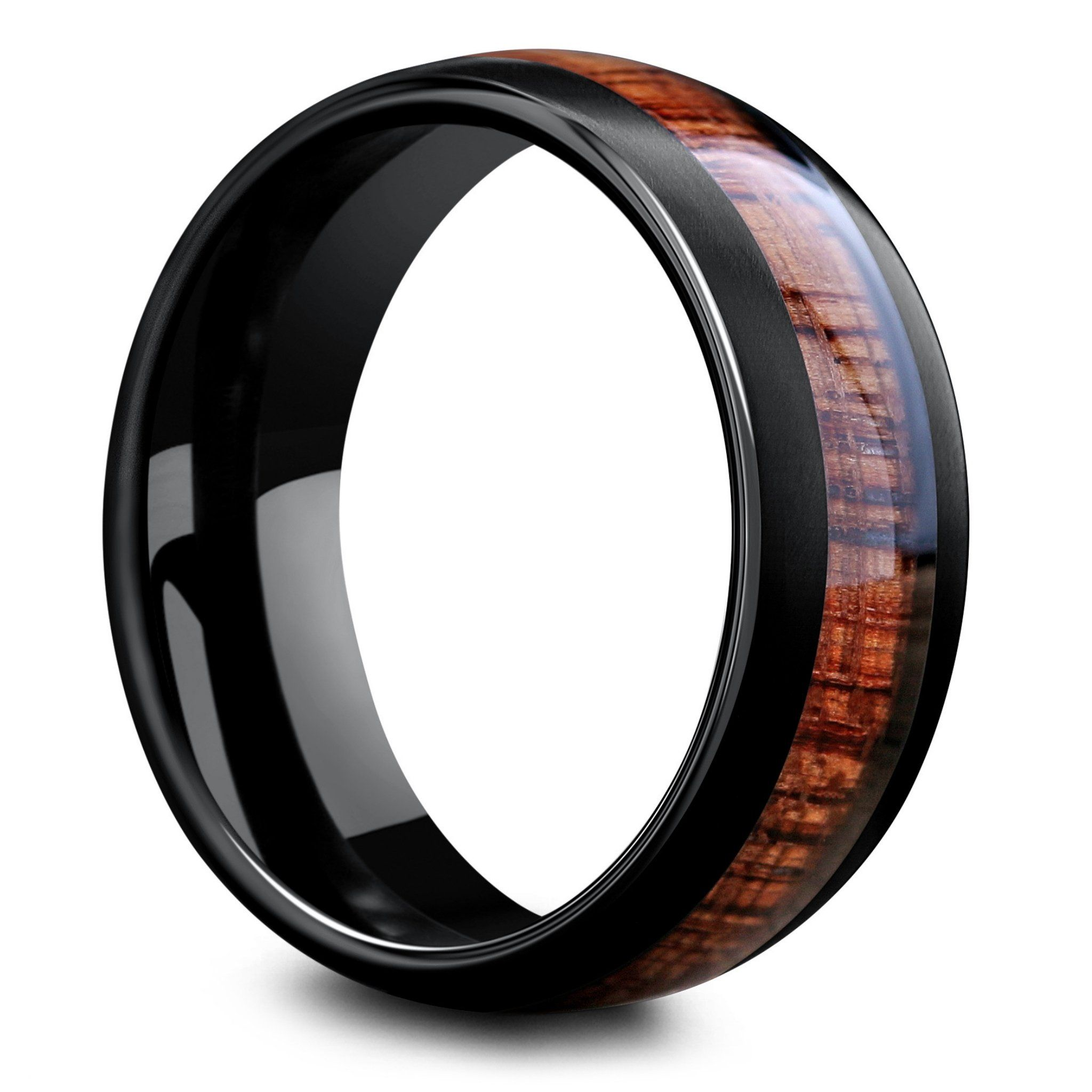 8mm Black Tungsten Wedding Band with Koa Wood Inlay (With