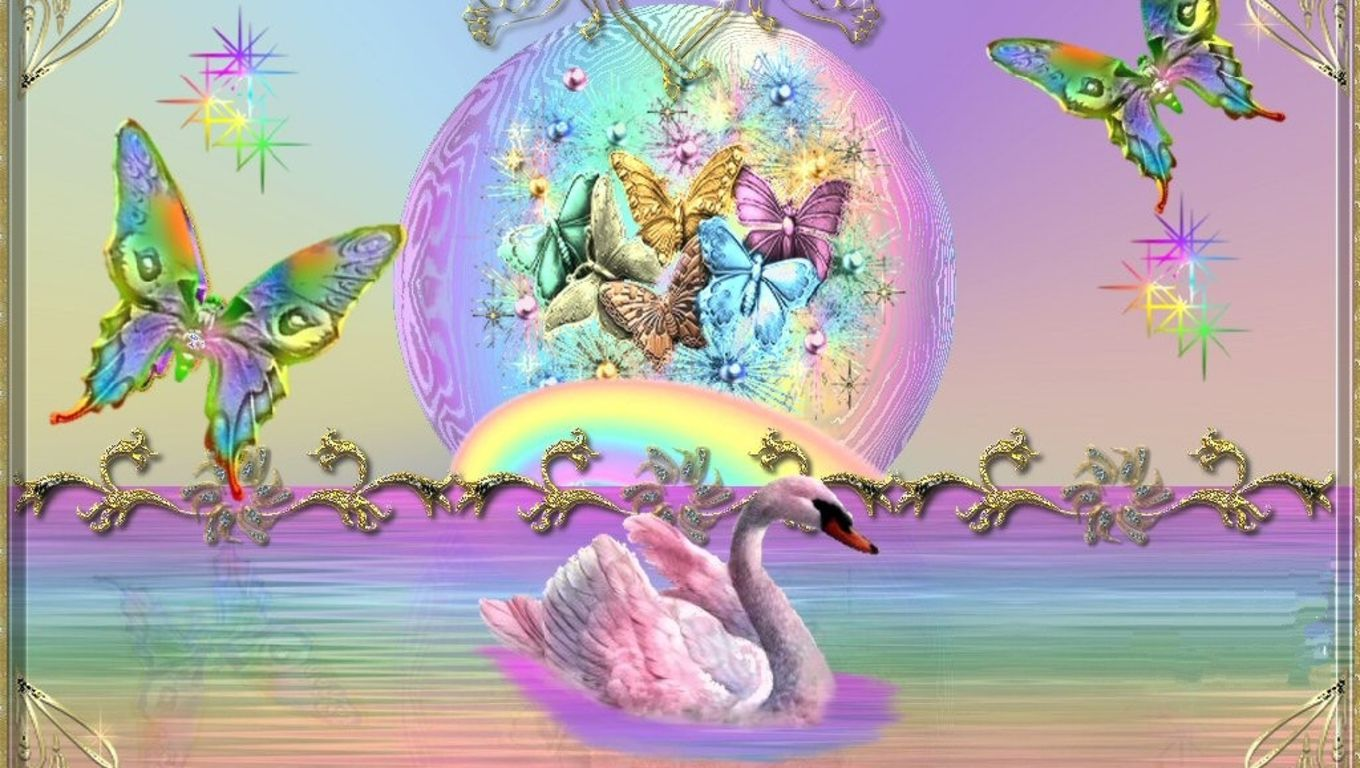 Unicorns Rainbows and Butterflies Background | Rainbows ...