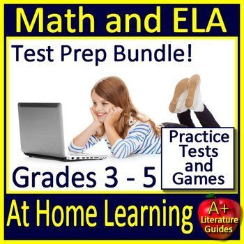 At Home Learning Math AND ELA Test Prep Grades 3 5 Tests and Games elearning