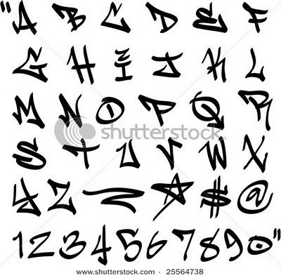 Draw graffiti letters alphabet label graffiti numbers