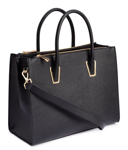 Handbag In Thick Grained Imitation Leather With Two Handles And A Detachable Shoulder Strap At Top One Large Compartment Compartments On Long Sides