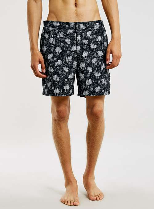 b129c555545 LTD Maui Resort Fixed Palm Print Swim Shorts - View All Clearance -  Clearance - TOPMAN