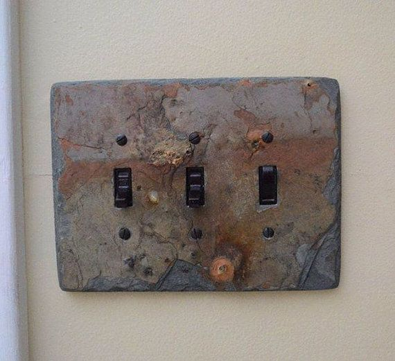 Decorative slate switch plate 3 triple toggle by for Unique light switch plates