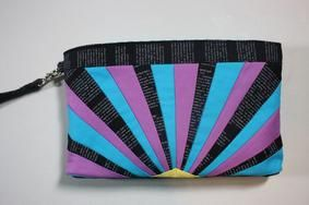 Paper-Pieced Sunrise Clutch Pattern Download by Sew Sweetness. Available now at Connecting Threads. www.connectingthreads.com