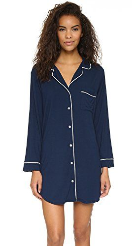 Eberjey Women's Gisele Sleep Shirt  Contrast piping outlines a borrowed-from-the-boys nightshirt. This cozy piece is detailed with a button placket and breast pocket. Long sleeves. Jersey Jersey 89% modal/11% spandex Jersey Jersey 89% modal/11% spandex Hand wash Jersey Jersey 89% modal/11% spandex Jersey Jersey 89% modal/11% spandex Hand wash Width 27in / 68.5cm, from shoulder  http://www.allsleepwear.com/eberjey-womens-gisele-sleep-shirt/