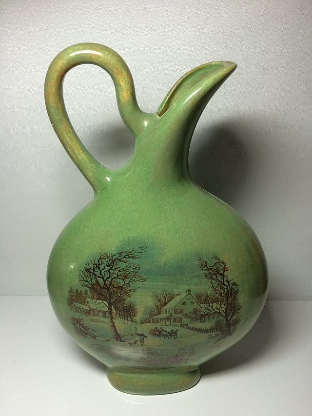 Signed 1977 Currier and Ives Ceramic Pitcher The Homestead in Winter The Farmers Home Blue Green Aqua Kitchen Decor Living Room Vintage by SoaringHawkVintage on Etsy