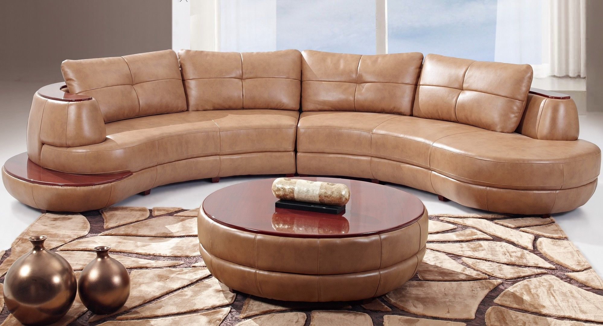 """Global U918-HONEY Sectional - Modern beige sectional. Made of leather. Dimensions: L150"""" x D75"""" x H33""""."""
